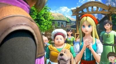 村人や母親とともに主人公を見送るエマ