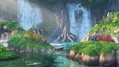 ドラクエ11イシの大滝と思われる場所。小さな入れ物に入った赤ちゃんが流れてきています。