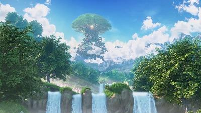 ドラクエ11イシの大滝のはるか向こうには、空に浮かぶ命の大樹