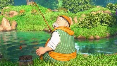 釣りをしているテオ