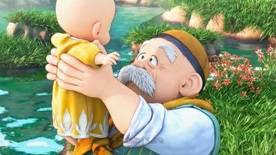 流れてきた赤ちゃんを拾い上げ、抱き上げるテオ
